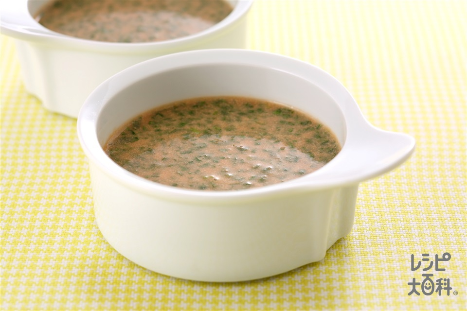 ミルクトマトスープ (牛乳+トマトジュース(無塩)を使ったレシピ)