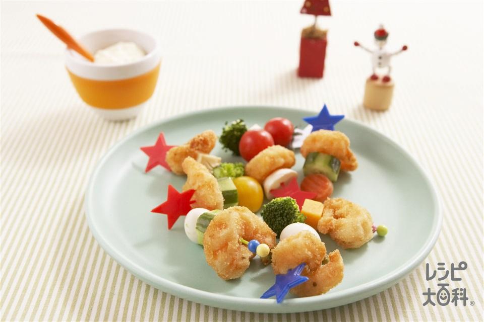 えびフライのピンチョス風(小えび+ミニトマトを使ったレシピ)