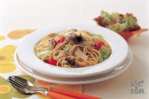 きのことカラフル野菜のコンソメパスタ(スパゲッティ+鶏もも肉を使ったレシピ)