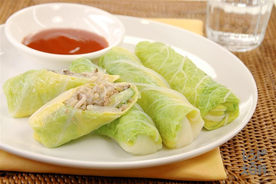 白菜の生春巻き風(白菜+薄焼き卵を使ったレシピ)