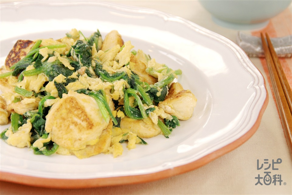 ほうれん草と豆腐のチャンプルー(ほうれん草+木綿豆腐を使ったレシピ)