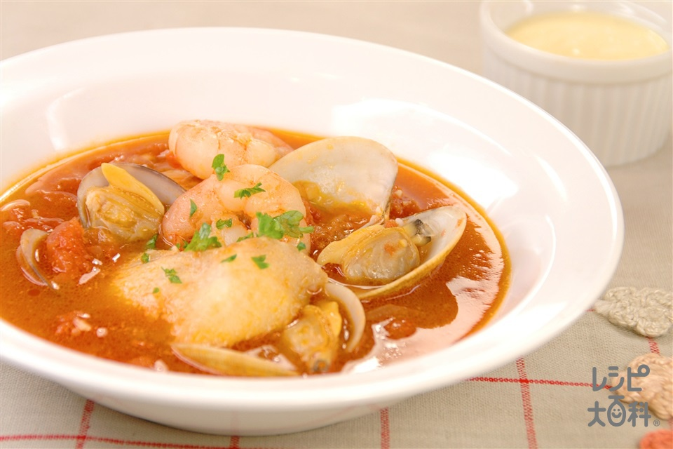 魚介のトマトスープ(むきえび+あさり(殻つき)を使ったレシピ)