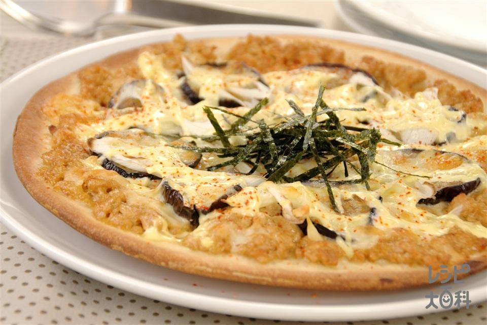 みそマヨ和風ピザ(鶏ひき肉+なすを使ったレシピ)