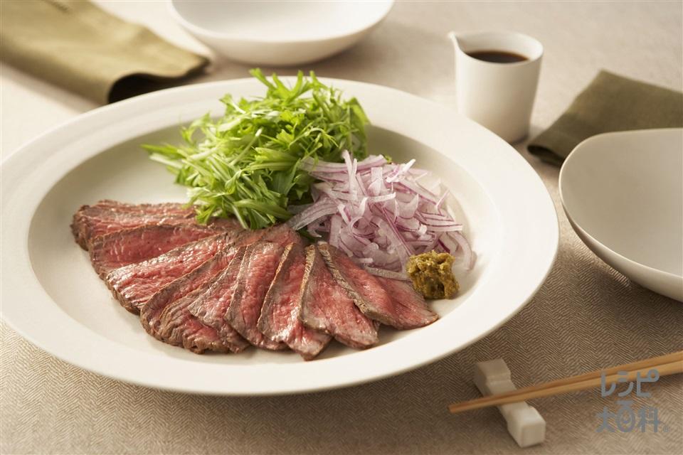 牛肉の和風カルパッチョ(牛もも肉+水菜を使ったレシピ)