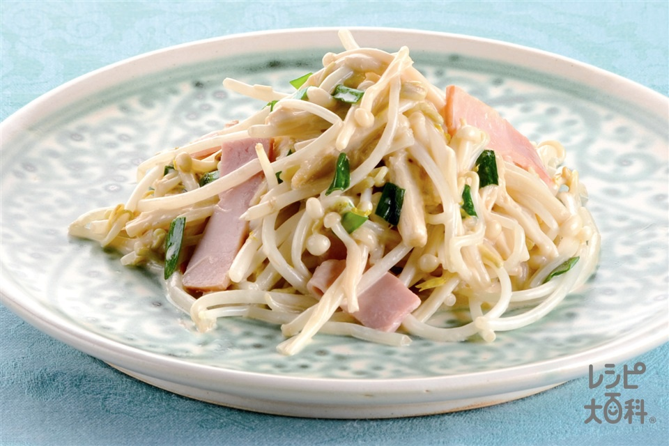 もやしとえのきのオイマヨ炒め(もやし+えのきだけを使ったレシピ)