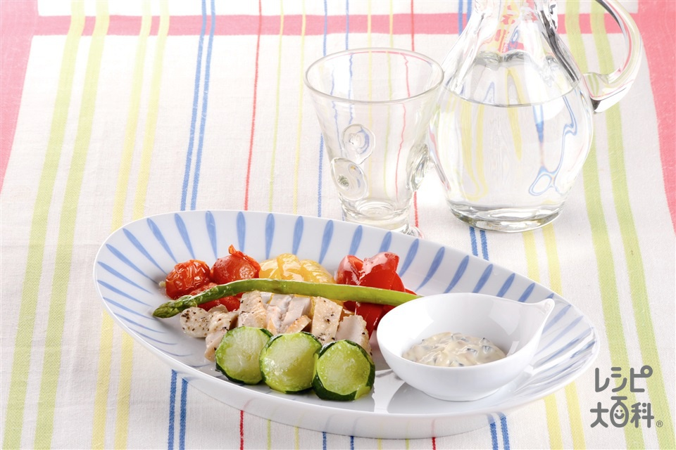 カラフル野菜と鶏肉のグリル(鶏むね肉+ミニトマトを使ったレシピ)