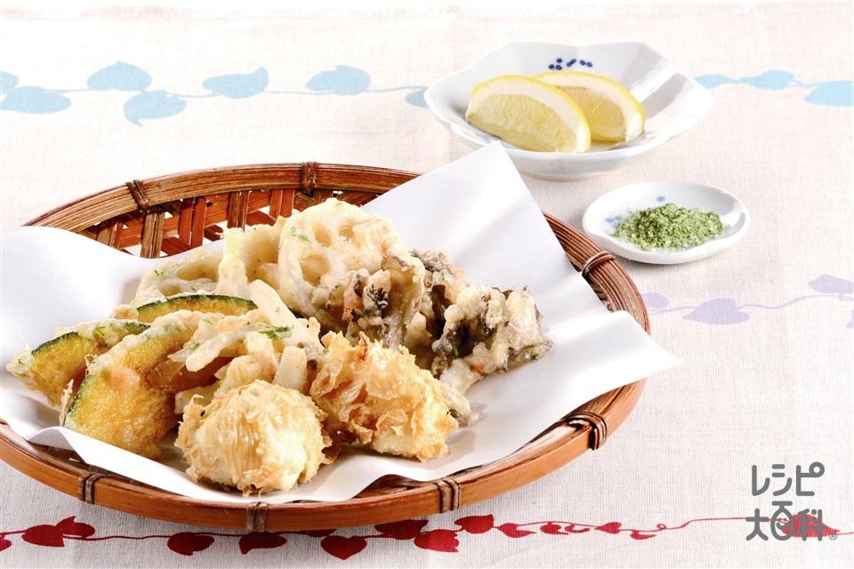 秋野菜の天ぷらと豆腐の湯葉揚げ(れんこん+木綿豆腐を使ったレシピ)