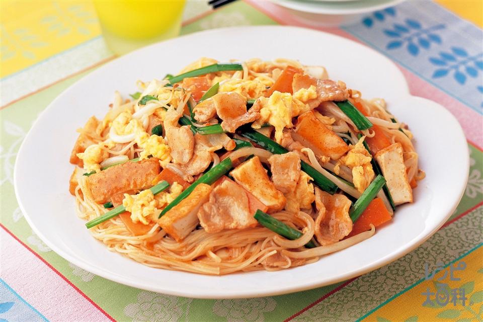 豚肉そうめんチャンプルー(そうめん+厚揚げを使ったレシピ)