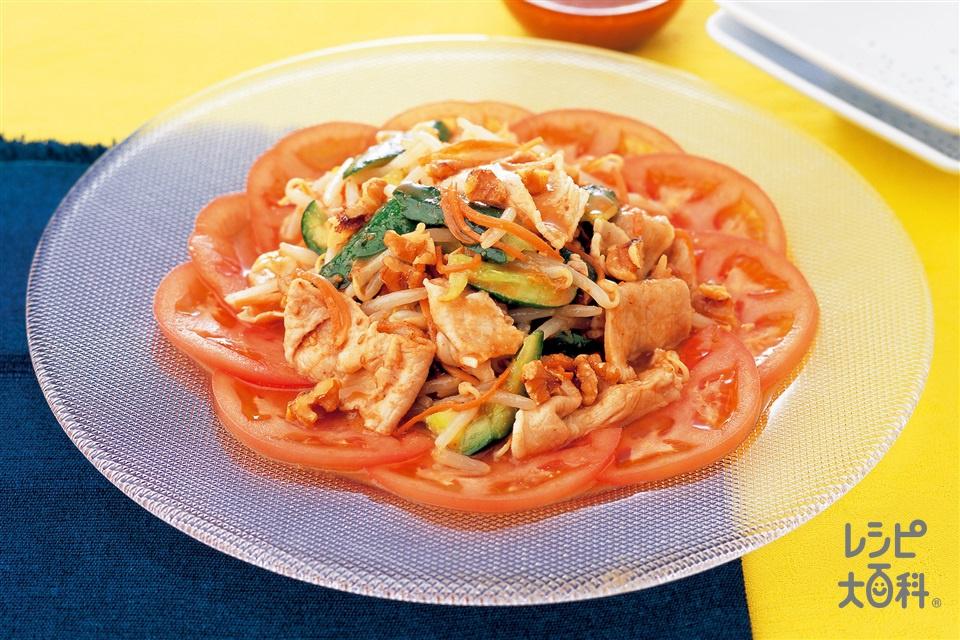 もやしとゆで豚のサラダ(豚ロースしゃぶしゃぶ肉+きゅうりを使ったレシピ)