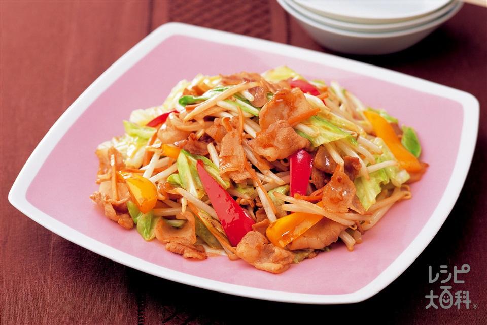 もやしと彩り野菜の豚肉オイスターソース炒め (もやし+キャベツを使ったレシピ)