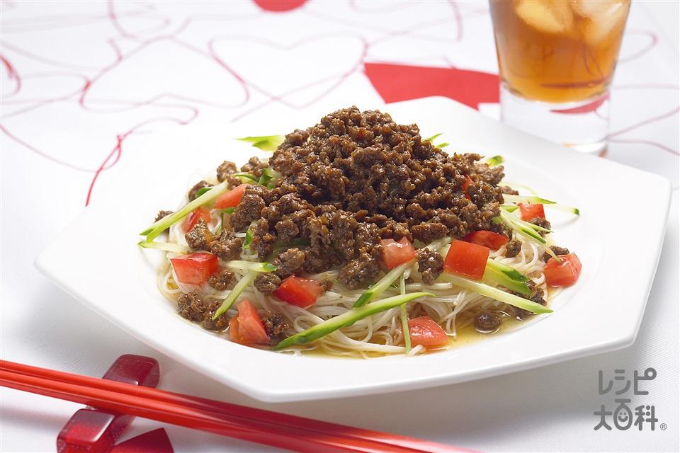 トマトのジャージャーそうめん (そうめん+牛ひき肉を使ったレシピ)