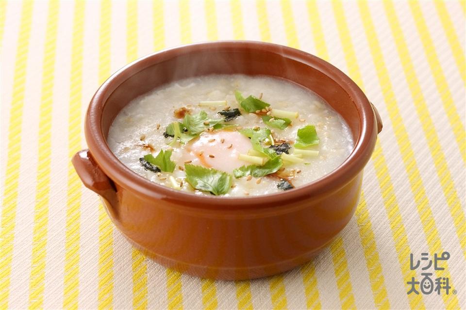 玄米がゆ&半熟卵(卵+みつばを使ったレシピ)