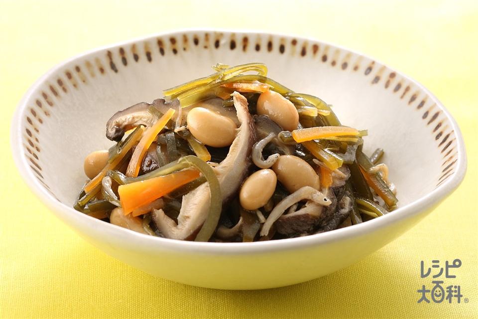 昆布としいたけの煮もの(大豆の水煮+にんじんを使ったレシピ)