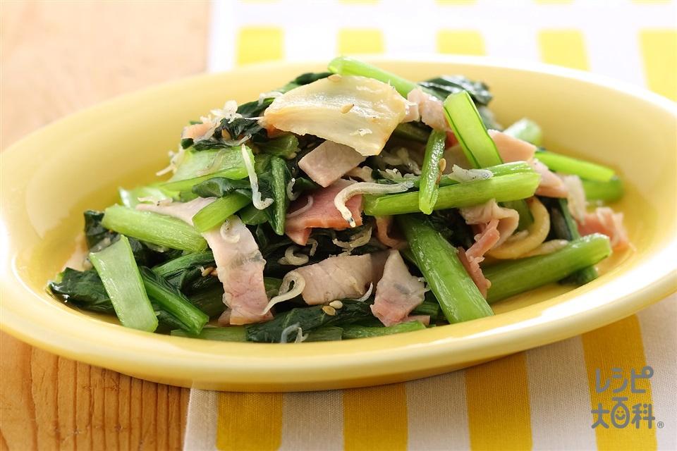 小松菜とにんにくの炒めもの(小松菜+ロースハムを使ったレシピ)