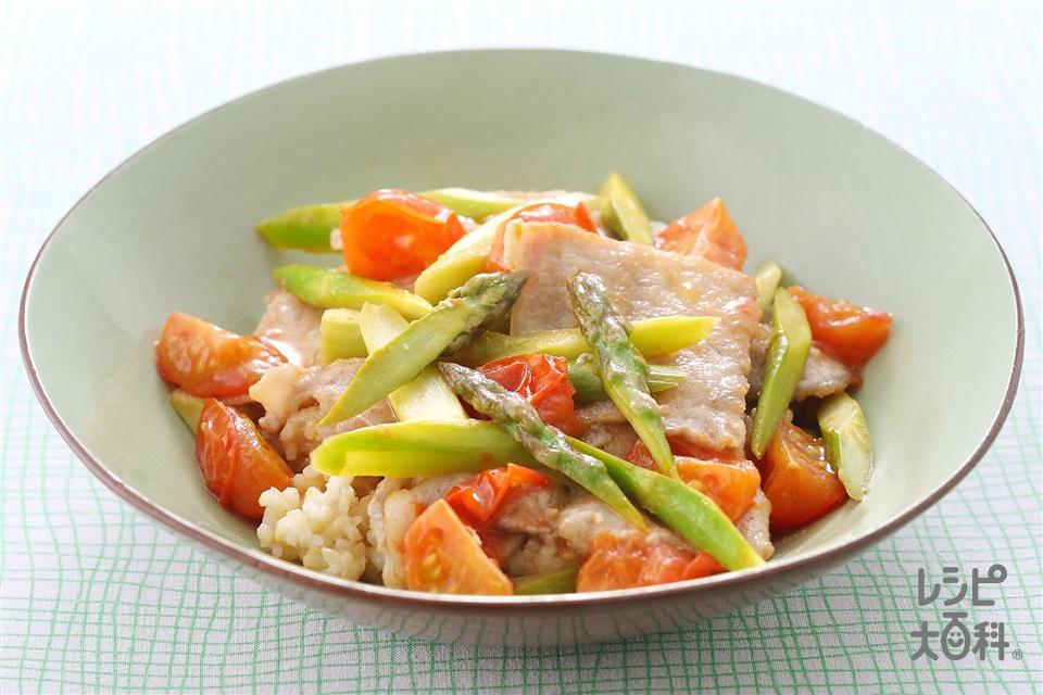 豚肉とアスパラの洋風丼(玄米ご飯+豚もも薄切り肉を使ったレシピ)