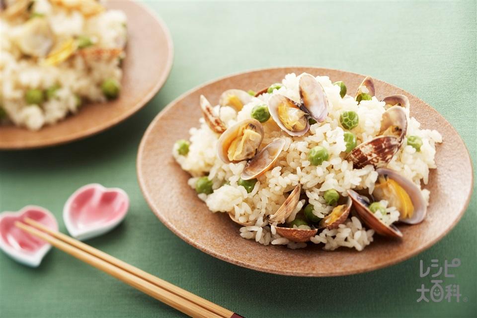 グリンピースとあさりの炊き込みご飯(米+あさり(殻つき)を使ったレシピ)