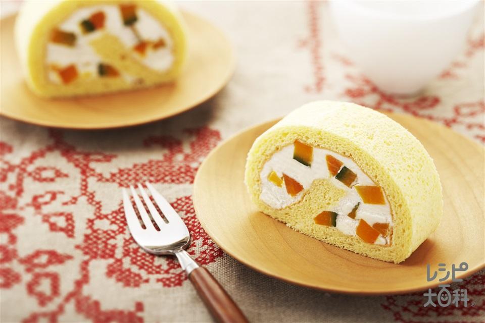 かぼちゃのロールケーキ(かぼちゃ+生クリームを使ったレシピ)