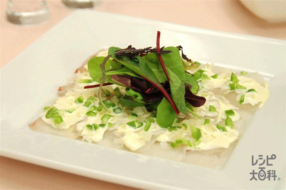 白身魚のカルパッチョ風サラダ(白身魚の刺身+玉ねぎを使ったレシピ)