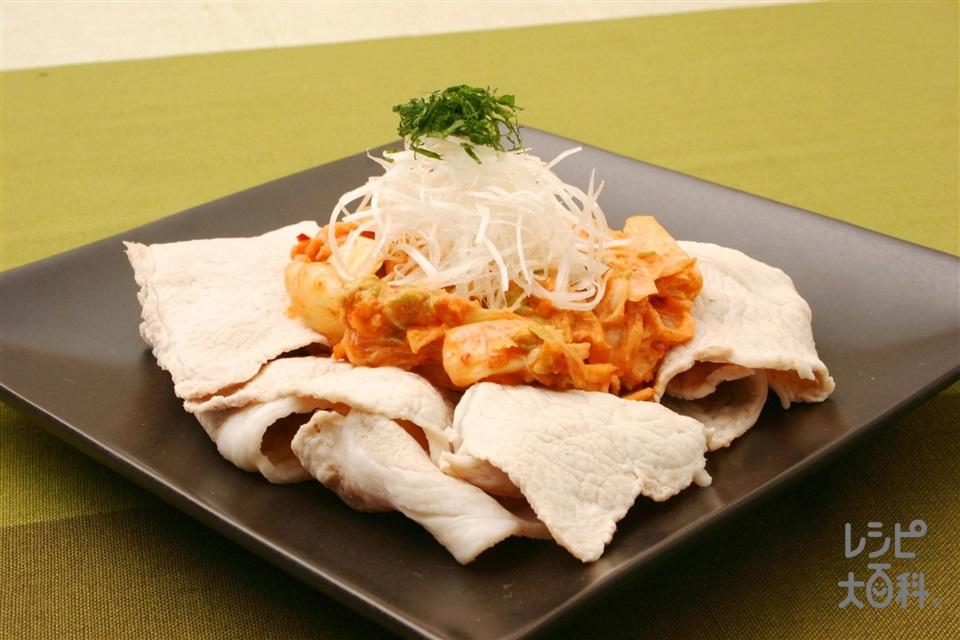 豚しゃぶのキムチマヨのせ(豚しゃぶしゃぶ用肉+キムチを使ったレシピ)