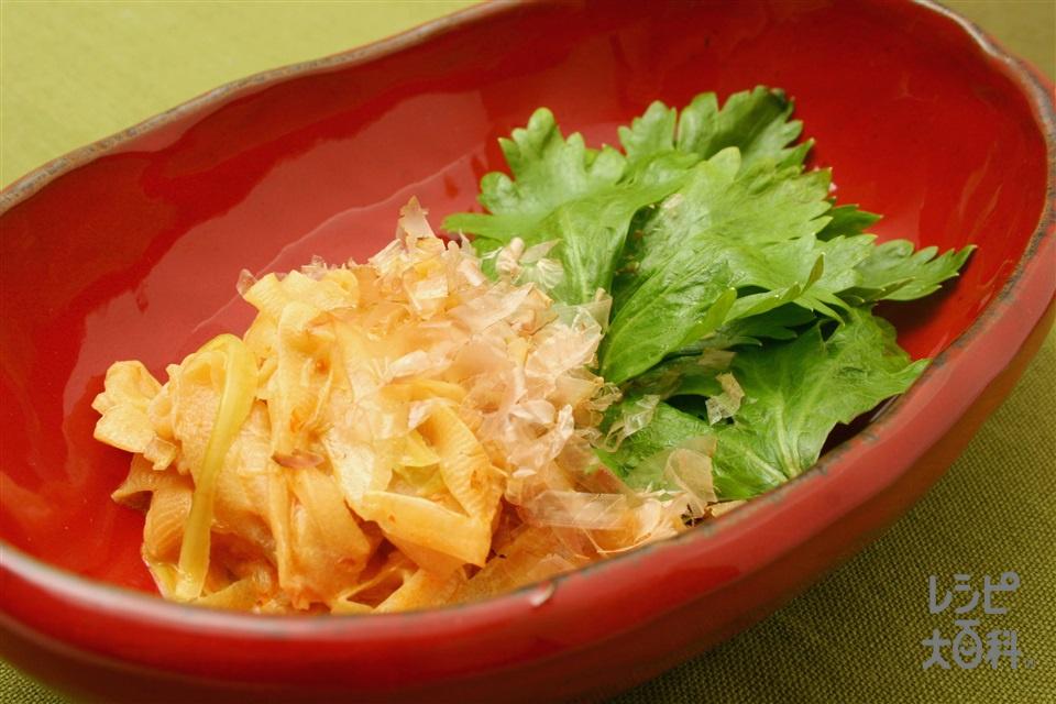 セロリのピリ辛マヨネーズ炒め(セロリ+削り節を使ったレシピ)