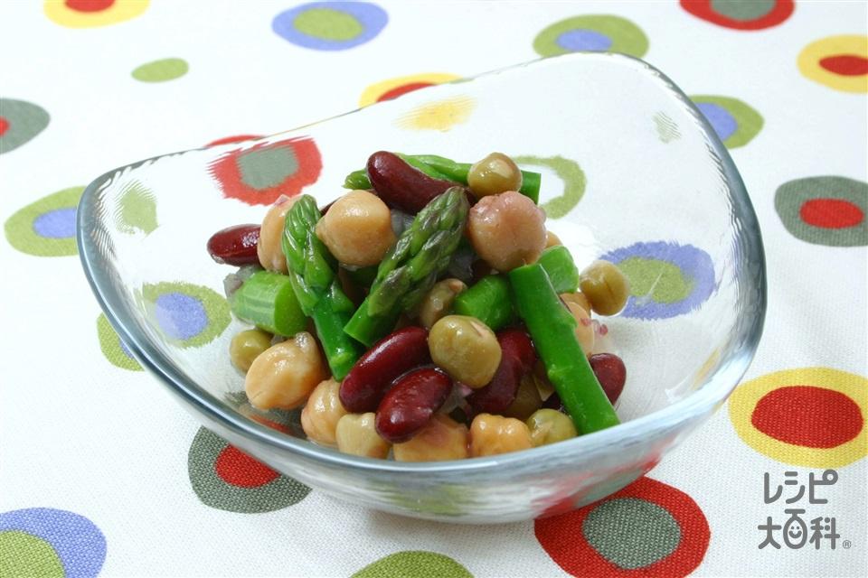 アスパラとミックスビーンズのサラダ(グリーンアスパラガス+紫玉ねぎを使ったレシピ)