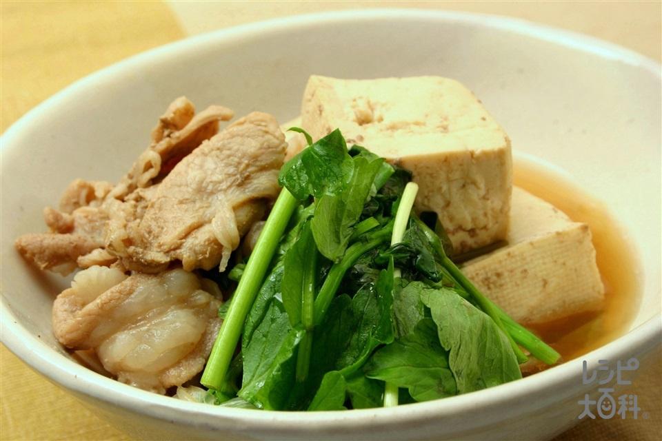 肉豆腐とせりの煮物(豚薄切り肉+木綿豆腐を使ったレシピ)