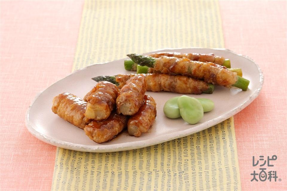 うどとグリーンアスパラの肉巻き2種 (豚ロース薄切り肉+うどを使ったレシピ)
