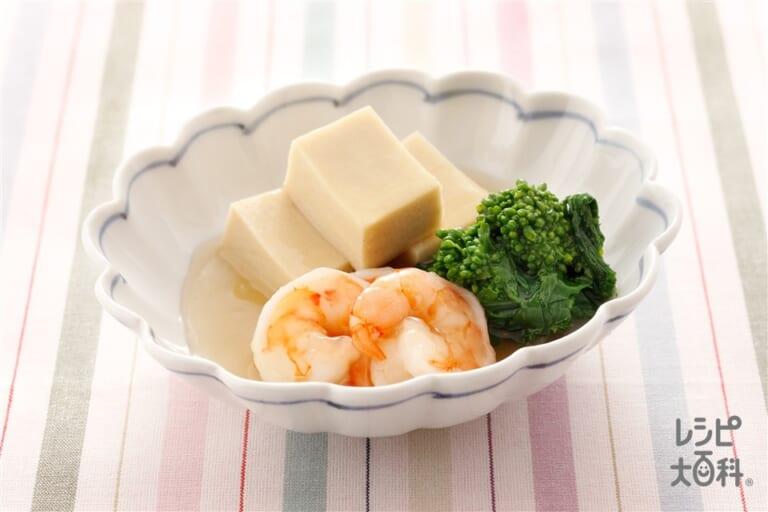 えび、菜の花、高野豆腐の薄くず煮