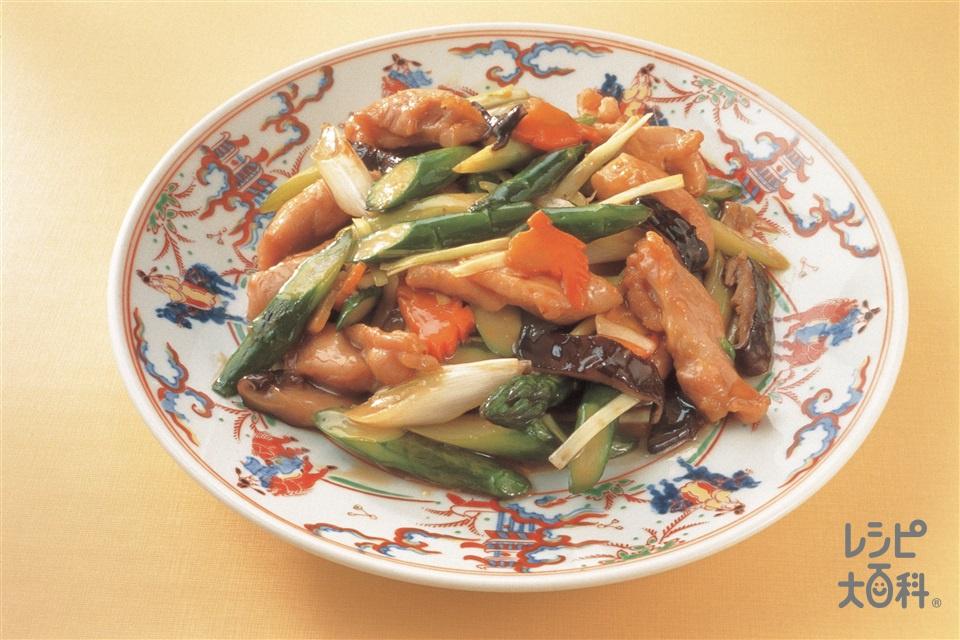 露笋炒鶏柳(アスパラと地鶏の炒め)(鶏もも肉(皮なし)+グリーンアスパラガスを使ったレシピ)