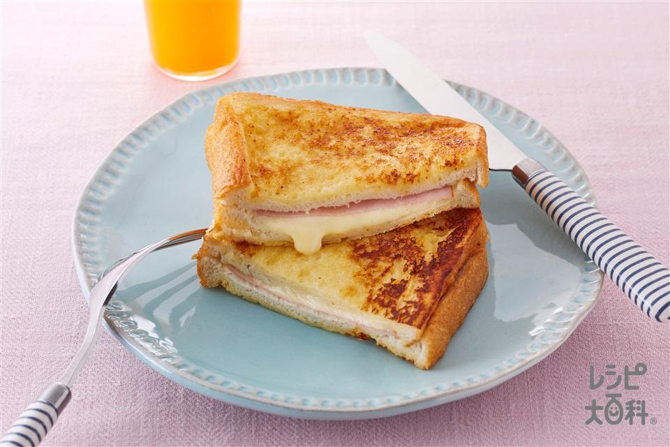 サンドイッチ風フレンチトースト(食パン8枚切り+A卵を使ったレシピ)