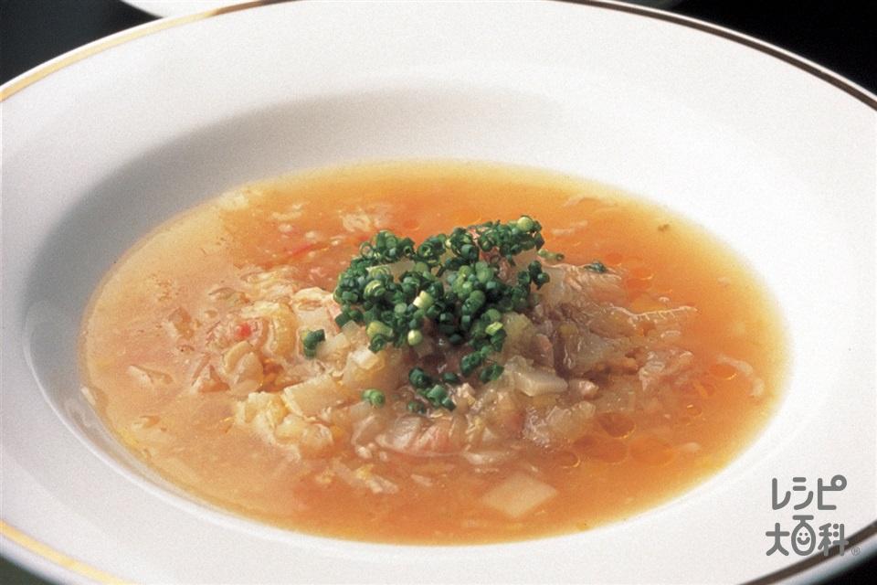 ポワロとベーコンのじゃがいも入りスープ(ポワロー+ベーコンを使ったレシピ)