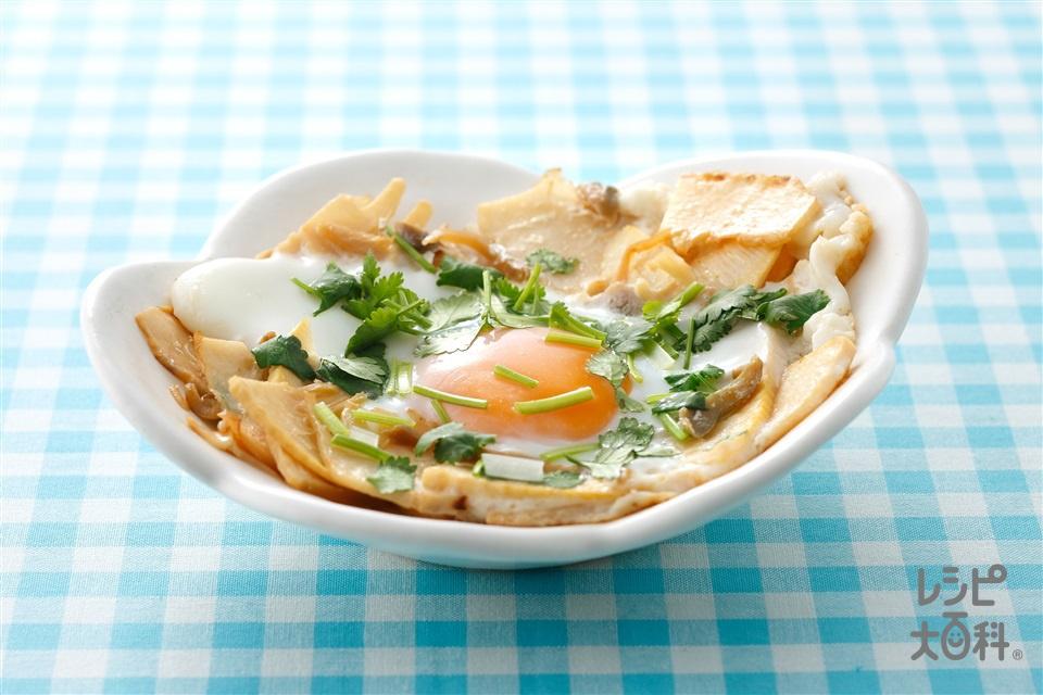 ザーサイと竹の子の落とし卵(ゆでたけのこ+卵を使ったレシピ)