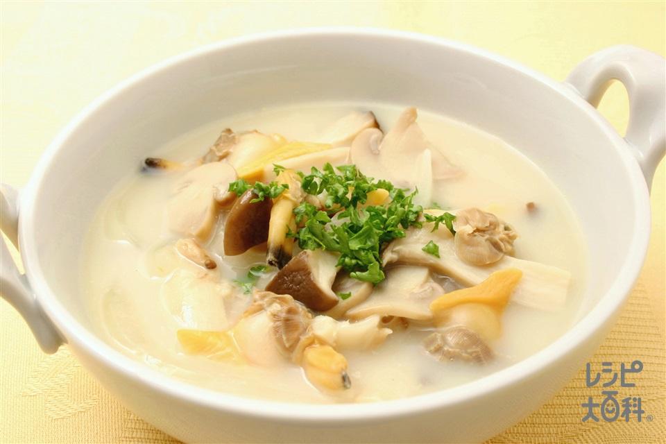エリンギたっぷりクラムチャウダー(あさり(むき身)+牛乳を使ったレシピ)