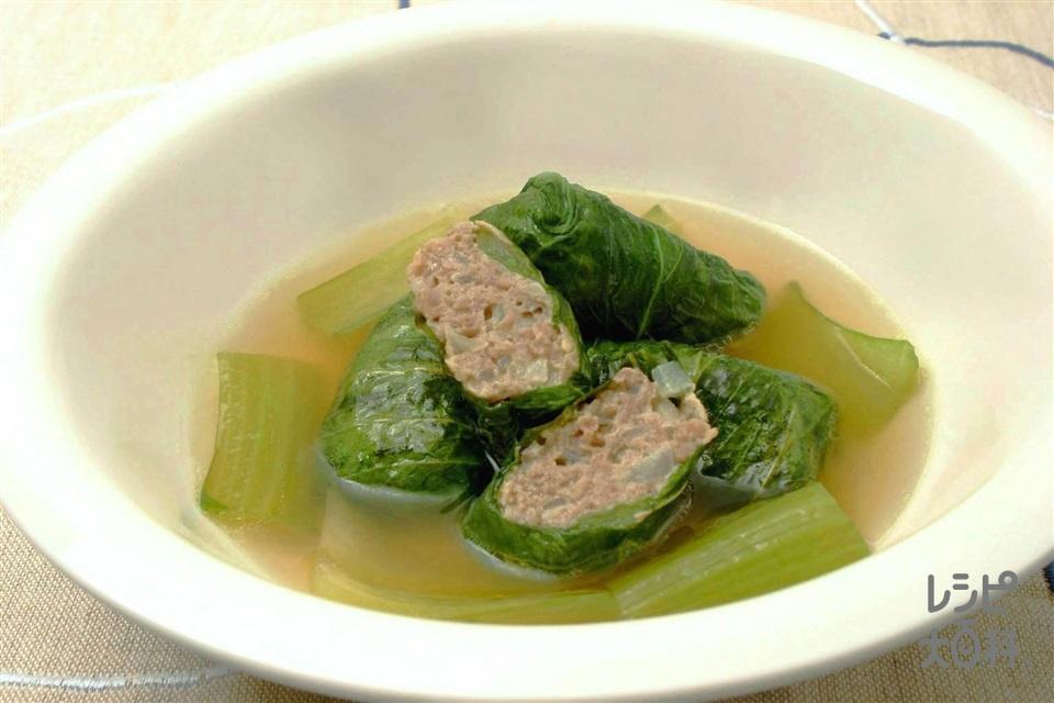 チンゲン菜の包み焼き(チンゲン菜+合いびき肉を使ったレシピ)