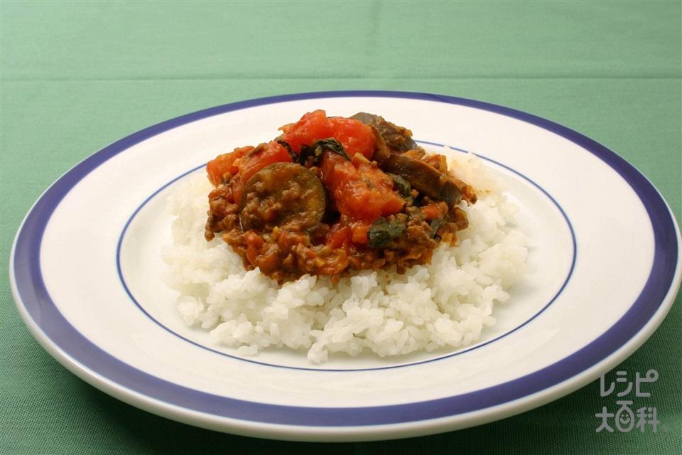 トマトとなすのドライカレー(トマト+ご飯を使ったレシピ)