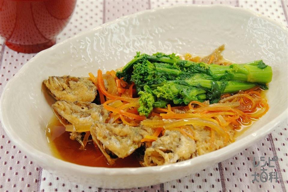 菜の花とあじの南蛮漬け(小あじ+にんじんを使ったレシピ)