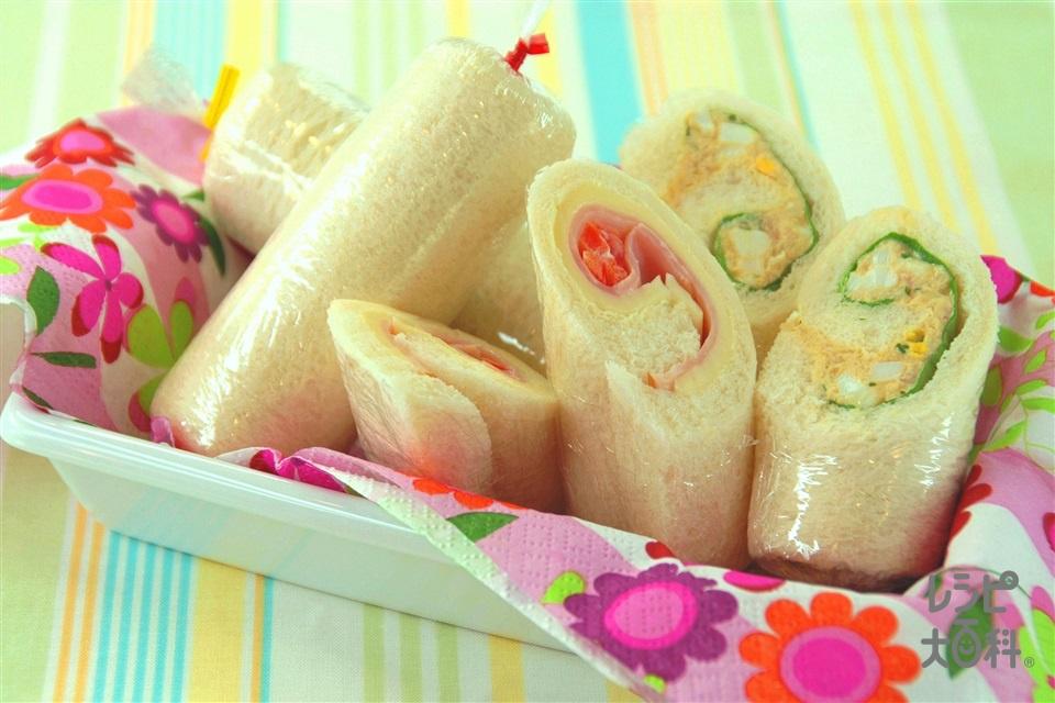 ロールサンド(食パン8枚切り+ロースハムを使ったレシピ)