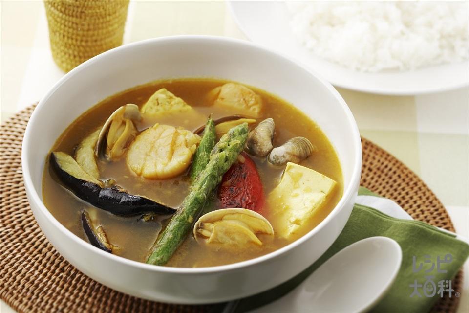 スープカレー和風仕立て(帆立貝柱+木綿豆腐を使ったレシピ)