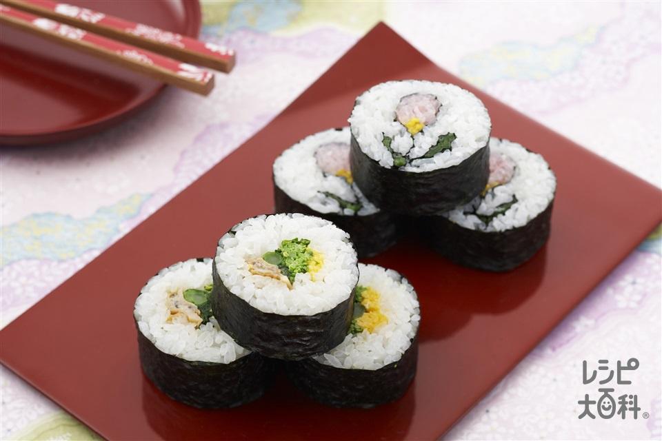 房総太巻き寿司(菜の花・はまぐり)(米+菜の花を使ったレシピ)