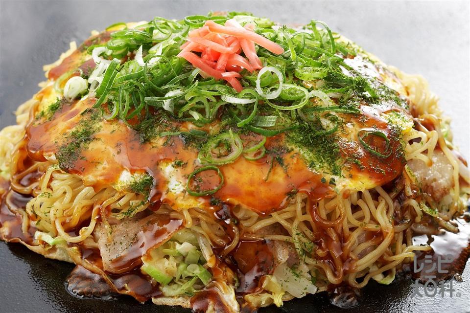 広島風お好み焼き(キャベツ+焼きそば用めんを使ったレシピ)