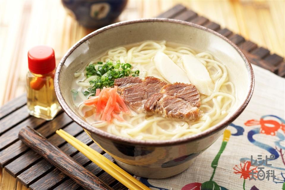 沖縄そば(沖縄そば+豚肩ロースかたまり肉を使ったレシピ)
