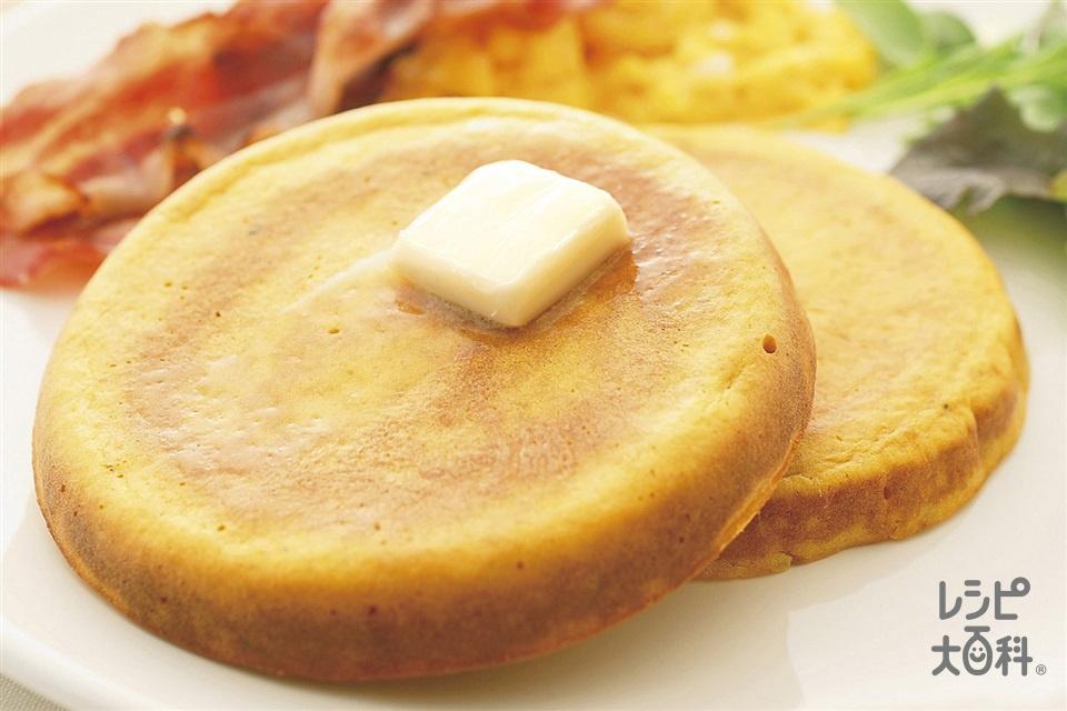 かぼちゃのパンケーキ(ふるった薄力粉+牛乳を使ったレシピ)