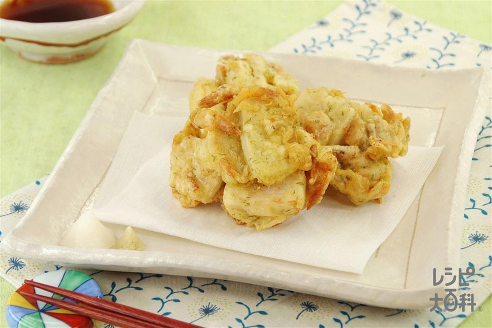たけのこと桜えびのかき揚げ(ゆでたけのこ+天ぷら粉を使ったレシピ)