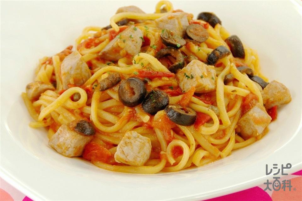 かつおのプッタネスカスパゲッティ