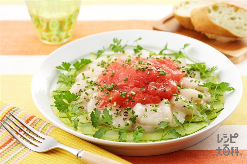 ホタテのカルパッチョ・トマトのジュレ(帆立貝柱(刺身)+きゅうりを使ったレシピ)