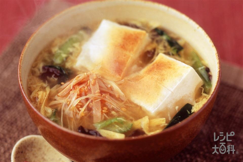 ピリ辛焼豚雑煮(餅+焼き豚を使ったレシピ)