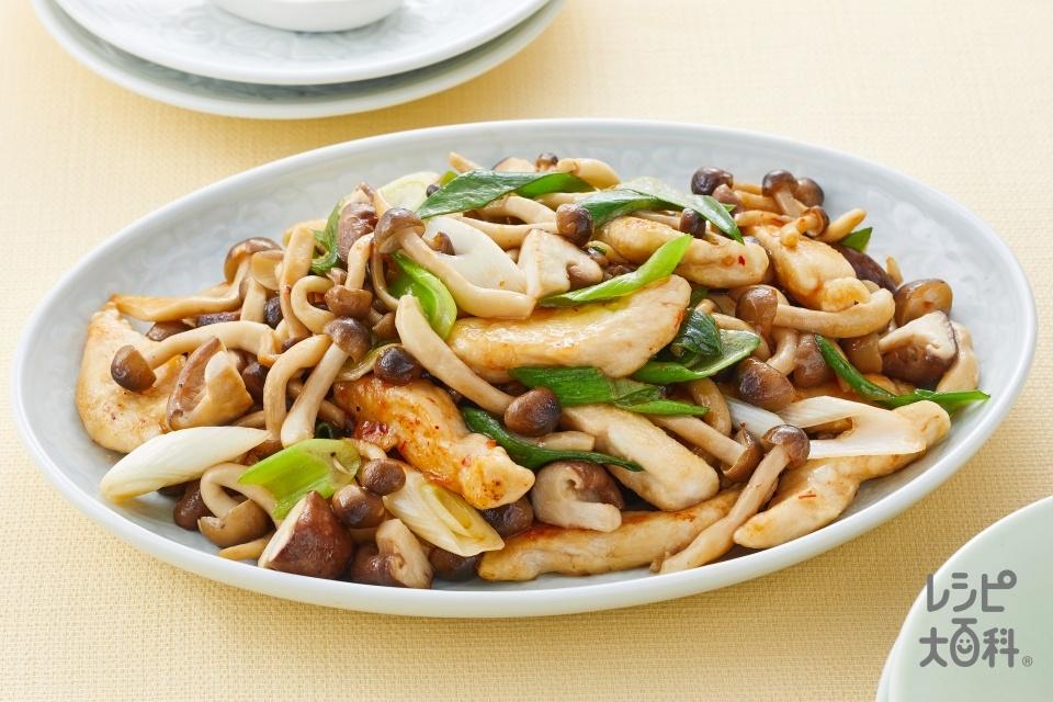 きのこの鶏ピリ炒め(しめじ+鶏むね肉を使ったレシピ)