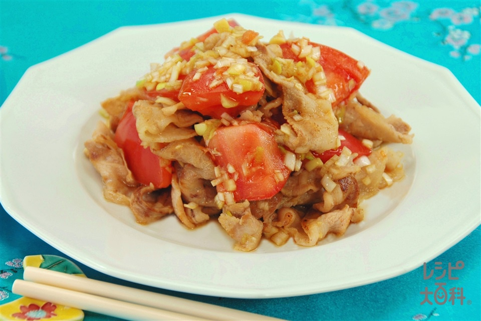 トマトとカリカリ豚肉のねぎだれあえ(トマト+豚バラ薄切り肉を使ったレシピ)