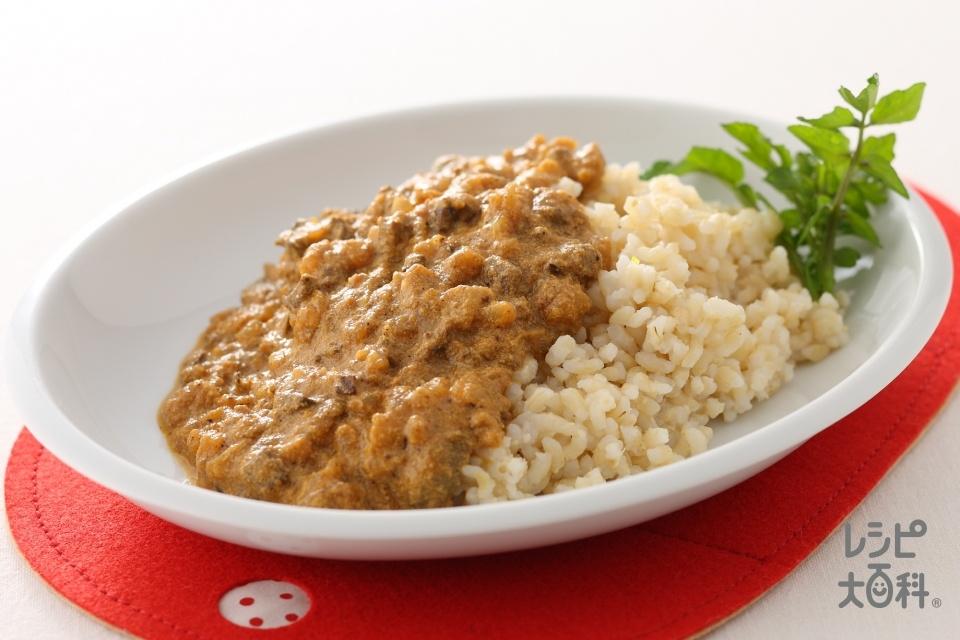 鶏レバーキーマカレー(牛乳+玄米ご飯を使ったレシピ)