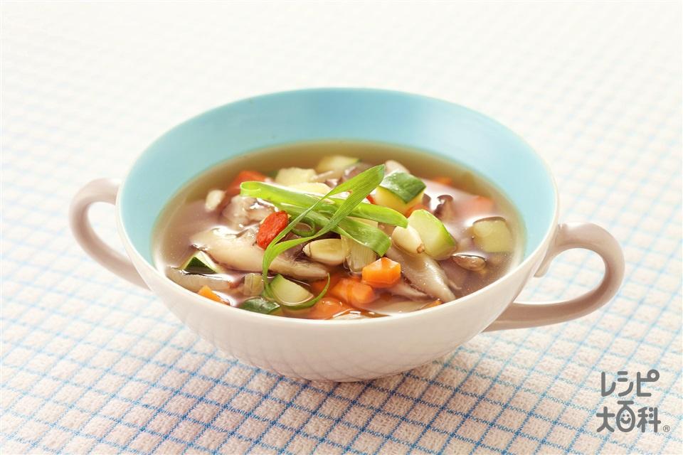 野菜たっぷり中華スープ(にんじん+ズッキーニを使ったレシピ)